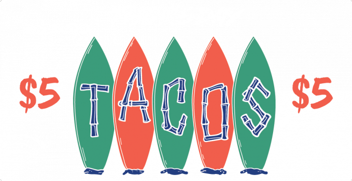 beach bum $5 tacos thursday